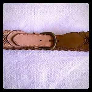 Tan studded leather Anthropologie belt
